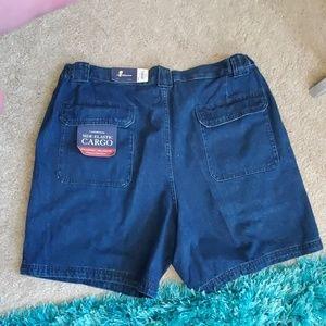 nwt men's 40 denim side elastic cargo shorts Croft